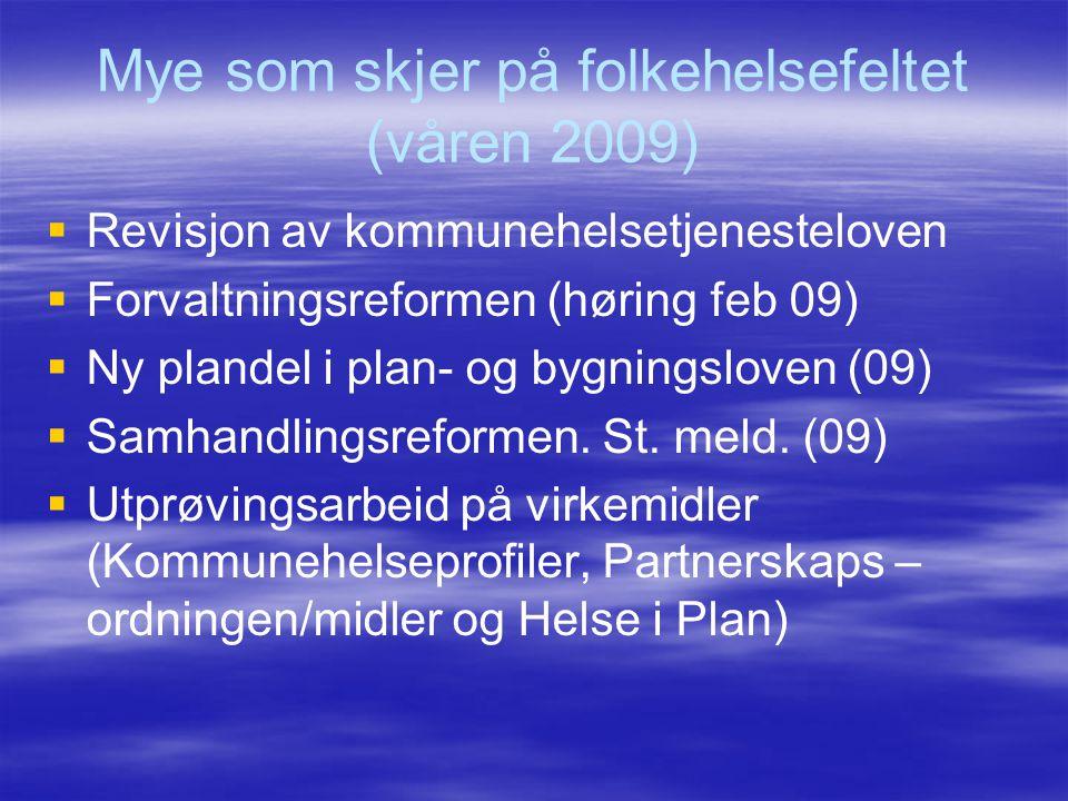 Mye som skjer på folkehelsefeltet (våren 2009)   Revisjon av kommunehelsetjenesteloven   Forvaltningsreformen (høring feb 09)   Ny plandel i pla