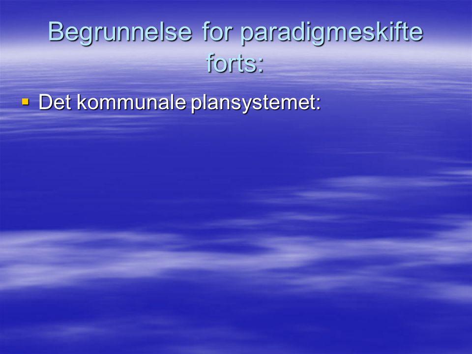Begrunnelse for paradigmeskifte forts:  Det kommunale plansystemet: