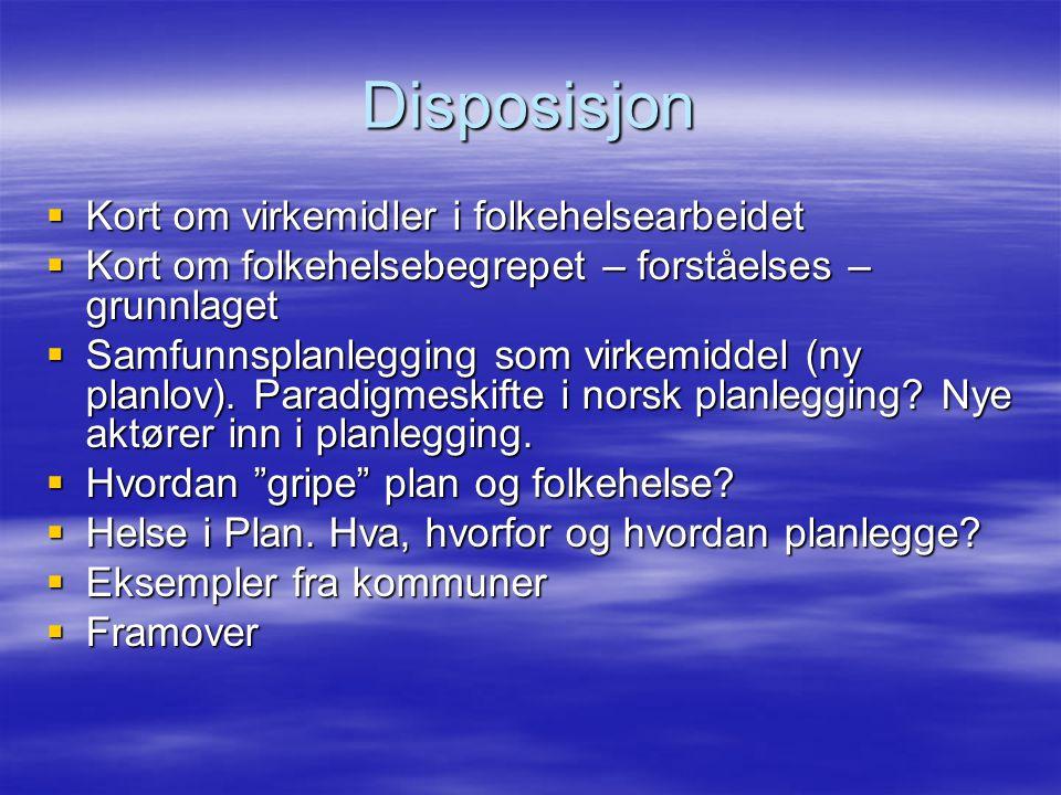 Disposisjon  Kort om virkemidler i folkehelsearbeidet  Kort om folkehelsebegrepet – forståelses – grunnlaget  Samfunnsplanlegging som virkemiddel (
