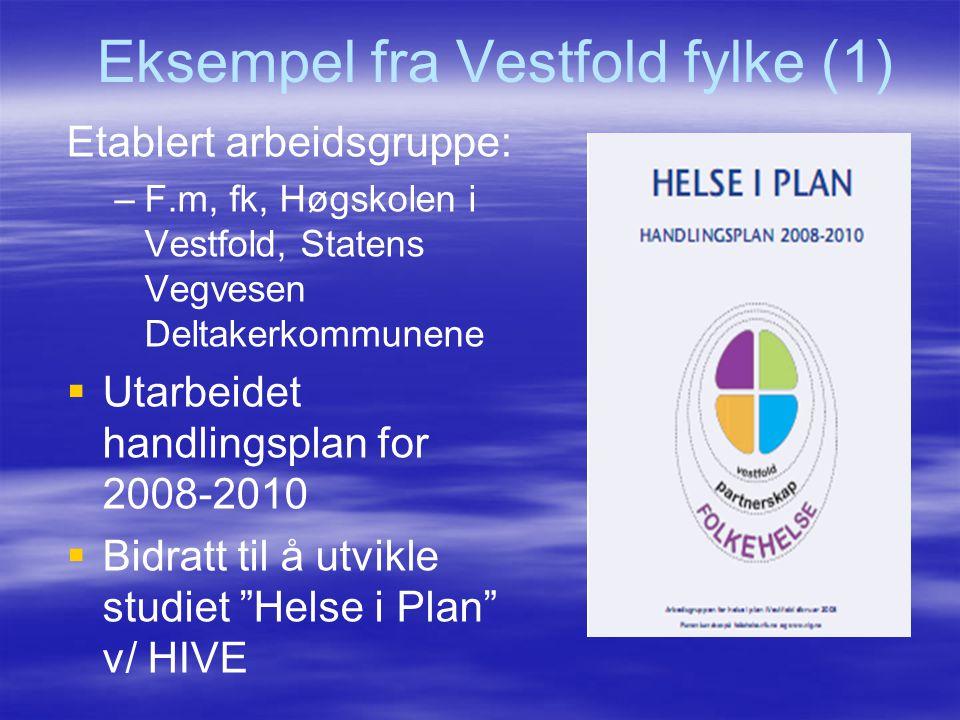 Eksempel fra Vestfold fylke (1) Etablert arbeidsgruppe: – –F.m, fk, Høgskolen i Vestfold, Statens Vegvesen Deltakerkommunene   Utarbeidet handlingsp