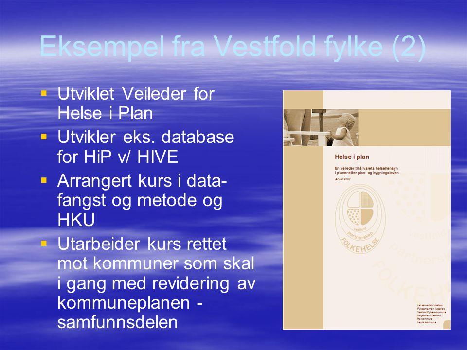 Eksempel fra Vestfold fylke (2)   Utviklet Veileder for Helse i Plan   Utvikler eks. database for HiP v/ HIVE   Arrangert kurs i data- fangst og