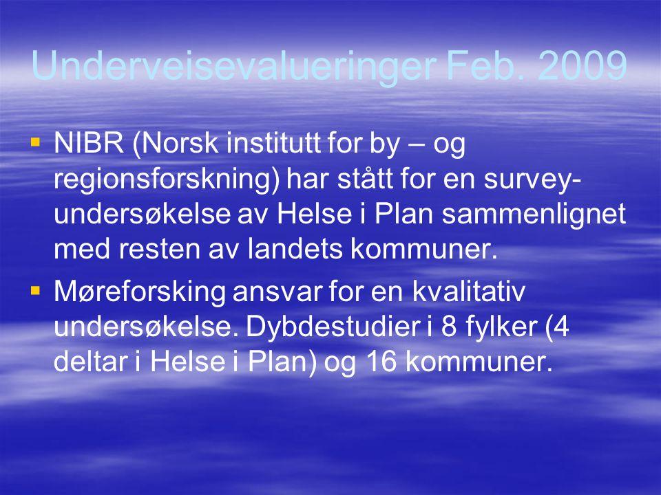Underveisevalueringer Feb. 2009   NIBR (Norsk institutt for by – og regionsforskning) har stått for en survey- undersøkelse av Helse i Plan sammenli