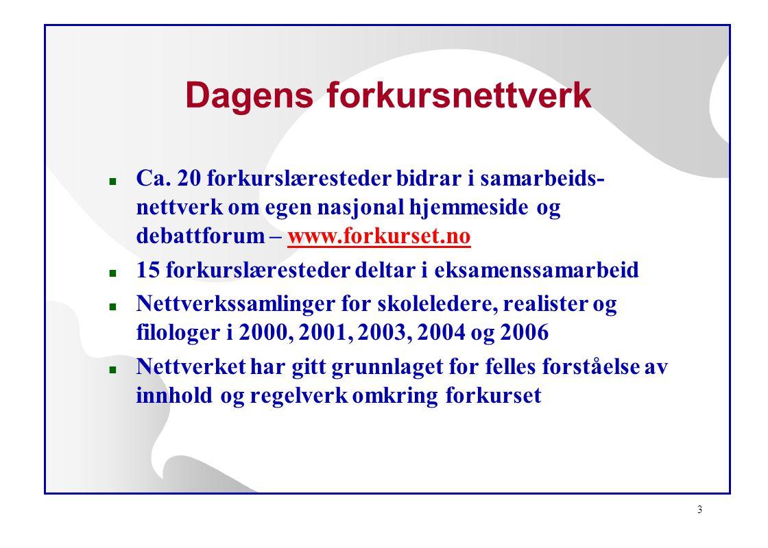 3 Dagens forkursnettverk n Ca. 20 forkurslæresteder bidrar i samarbeids- nettverk om egen nasjonal hjemmeside og debattforum – www.forkurset.nowww.for