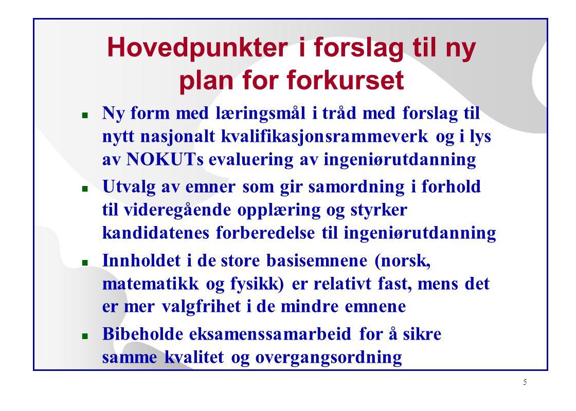 6 Hovedemner i forslag til ny forkursplan n Norsk 8 h/uke n Norsk som 2.