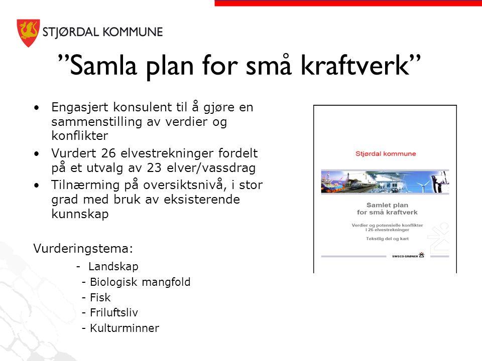Samla plan for små kraftverk Oppsummering av konfliktnivå på de vurderte elvestrekningene ved utbygging av tradisjonelle små kraftverk.