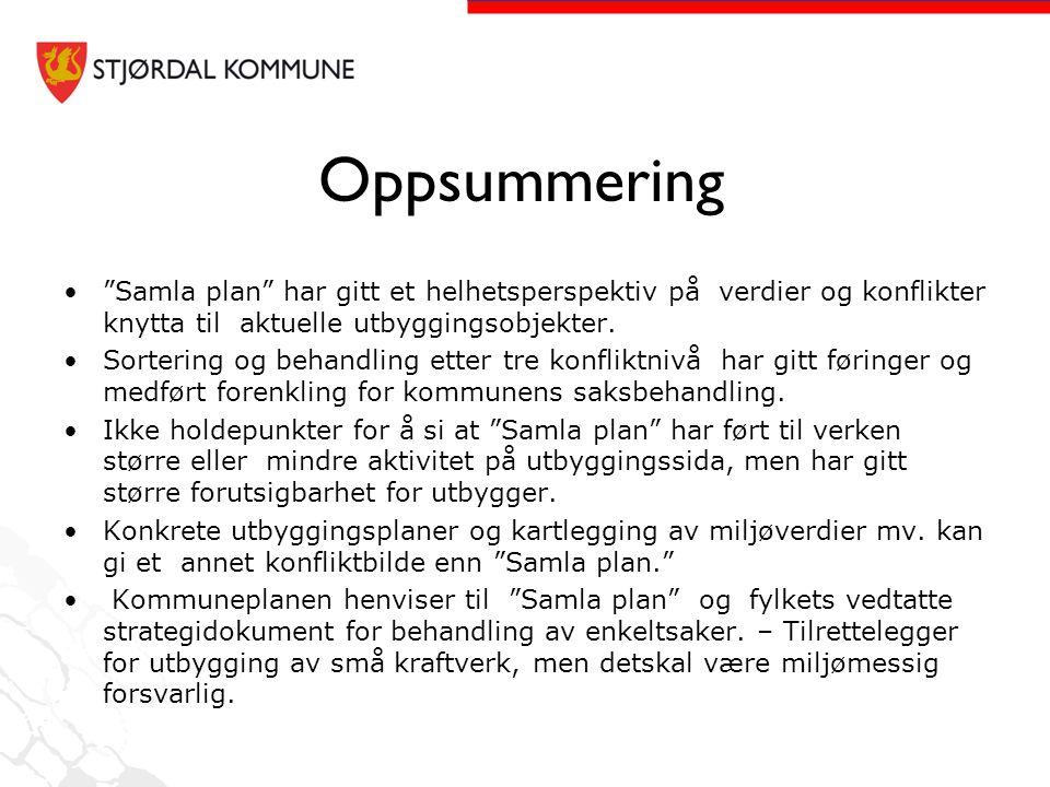 """Oppsummering •""""Samla plan"""" har gitt et helhetsperspektiv på verdier og konflikter knytta til aktuelle utbyggingsobjekter. •Sortering og behandling ett"""
