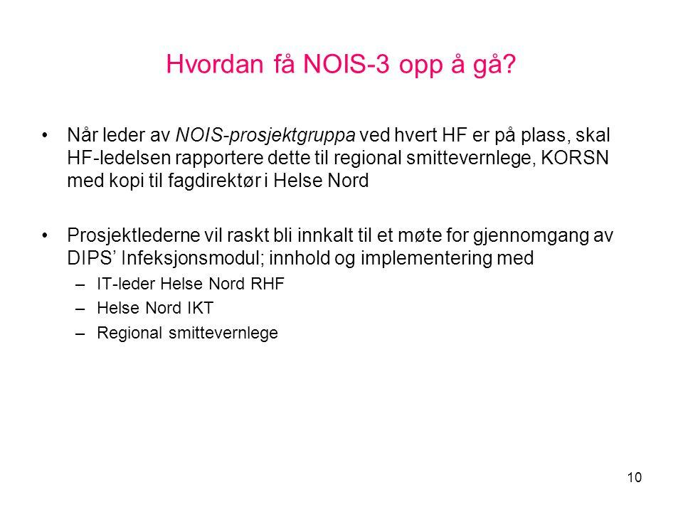 10 Hvordan få NOIS-3 opp å gå? •Når leder av NOIS-prosjektgruppa ved hvert HF er på plass, skal HF-ledelsen rapportere dette til regional smittevernle