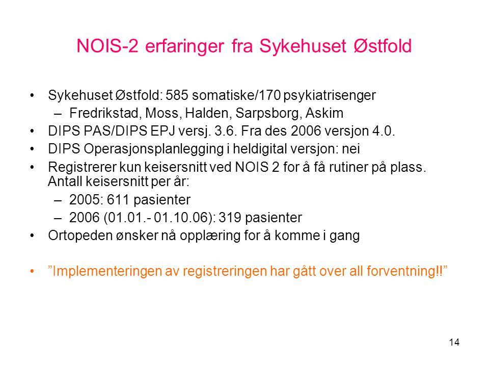 14 NOIS-2 erfaringer fra Sykehuset Østfold •Sykehuset Østfold: 585 somatiske/170 psykiatrisenger –Fredrikstad, Moss, Halden, Sarpsborg, Askim •DIPS PA
