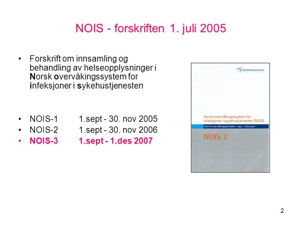 2 NOIS - forskriften 1. juli 2005 •Forskrift om innsamling og behandling av helseopplysninger i Norsk overvåkingssystem for infeksjoner i sykehustjene