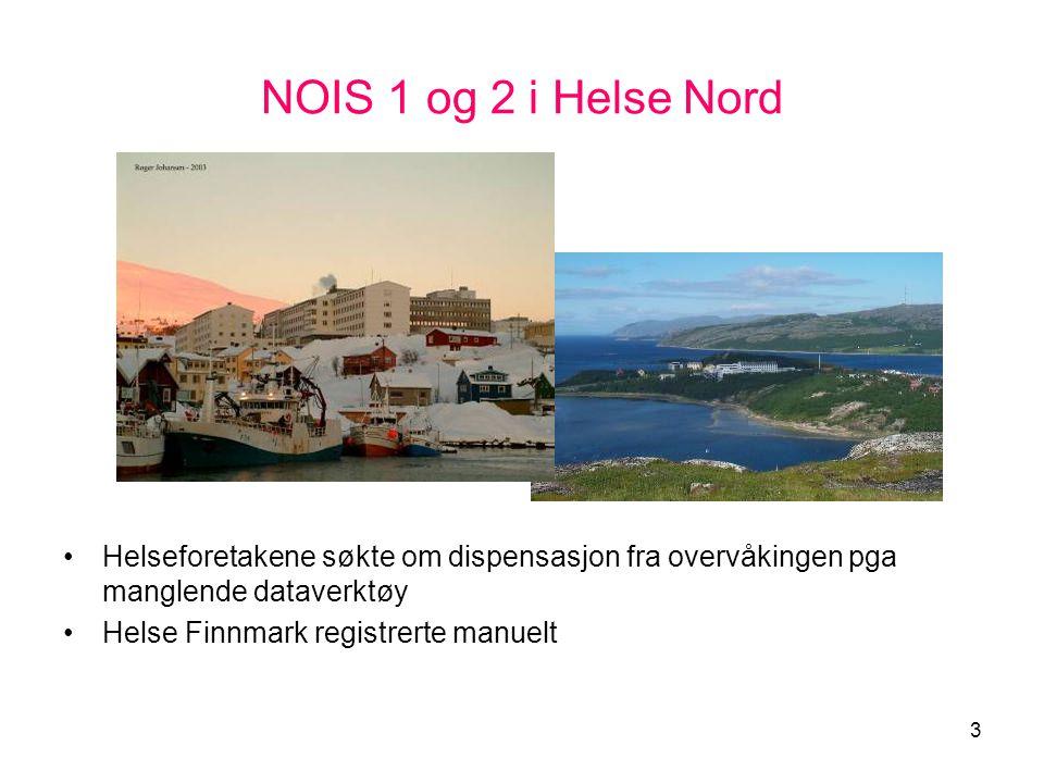 3 NOIS 1 og 2 i Helse Nord •Helseforetakene søkte om dispensasjon fra overvåkingen pga manglende dataverktøy •Helse Finnmark registrerte manuelt