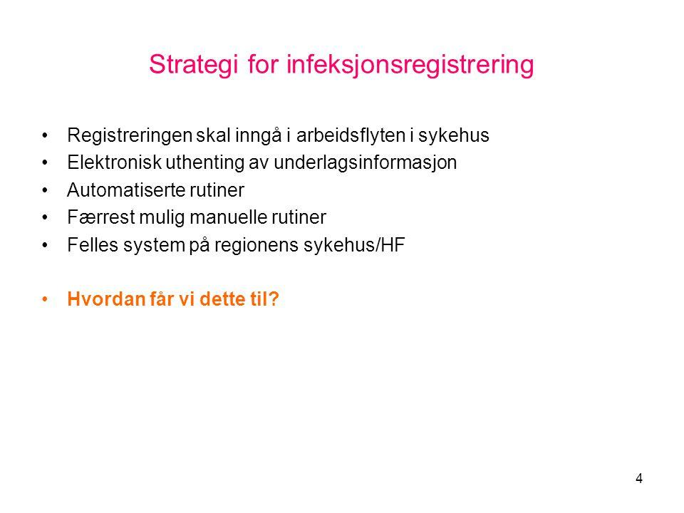 4 Strategi for infeksjonsregistrering •Registreringen skal inngå i arbeidsflyten i sykehus •Elektronisk uthenting av underlagsinformasjon •Automatiser