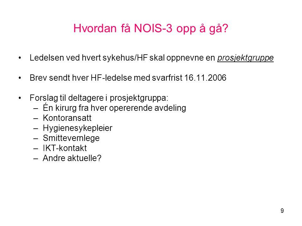 9 Hvordan få NOIS-3 opp å gå? •Ledelsen ved hvert sykehus/HF skal oppnevne en prosjektgruppe •Brev sendt hver HF-ledelse med svarfrist 16.11.2006 •For