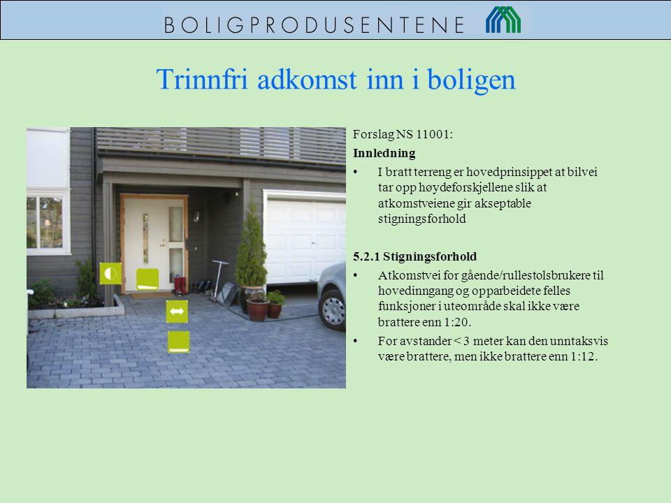 Trinnfri adkomst inn i boligen Forslag NS 11001: Innledning •I bratt terreng er hovedprinsippet at bilvei tar opp høydeforskjellene slik at atkomstvei