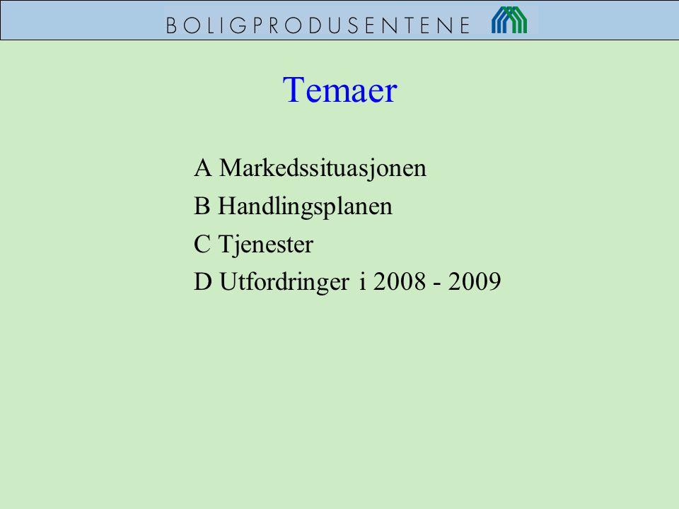 Temaer A Markedssituasjonen B Handlingsplanen C Tjenester D Utfordringer i 2008 - 2009