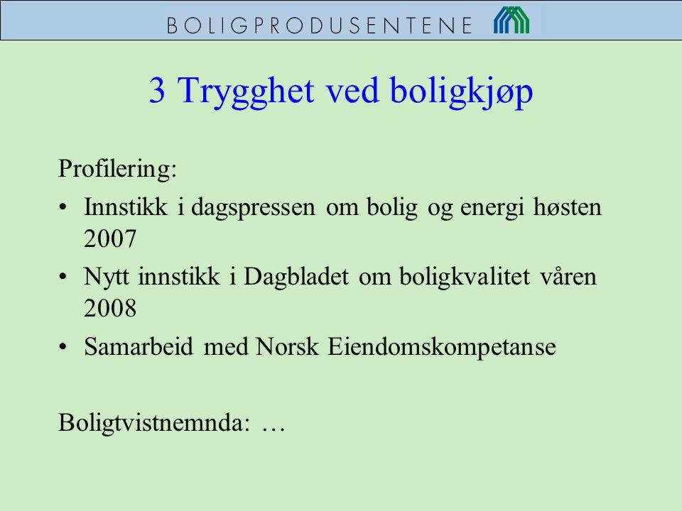 3 Trygghet ved boligkjøp Profilering: •Innstikk i dagspressen om bolig og energi høsten 2007 •Nytt innstikk i Dagbladet om boligkvalitet våren 2008 •S