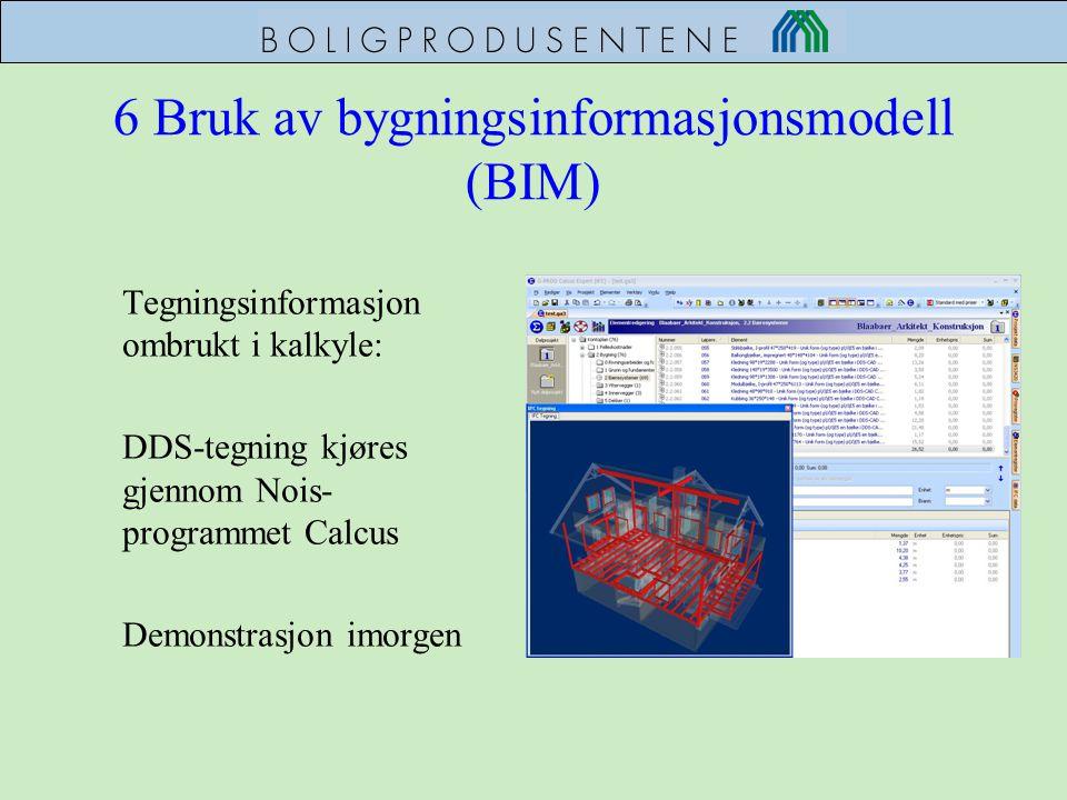 6 Bruk av bygningsinformasjonsmodell (BIM) Tegningsinformasjon ombrukt i kalkyle: DDS-tegning kjøres gjennom Nois- programmet Calcus Demonstrasjon imo