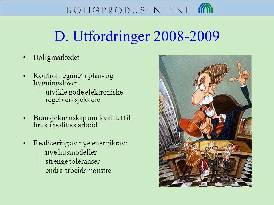 D. Utfordringer 2008-2009 •Boligmarkedet •Kontrollregimet i plan- og bygningsloven –utvikle gode elektroniske regelverksjekkere •Bransjekunnskap om kv