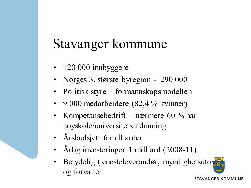 Stavanger kommune •120 000 innbyggere •Norges 3. største byregion - 290 000 •Politisk styre – formannskapsmodellen •9 000 medarbeidere (82,4 % kvinner