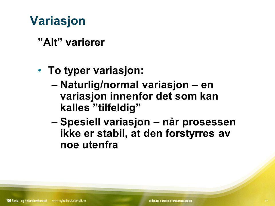 """17Målinger i praktisk forbedringsarbeid Variasjon """"Alt"""" varierer •To typer variasjon: –Naturlig/normal variasjon – en variasjon innenfor det som kan k"""