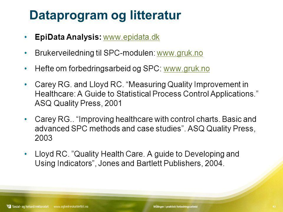 43Målinger i praktisk forbedringsarbeid Dataprogram og litteratur •EpiData Analysis: www.epidata.dkwww.epidata.dk •Brukerveiledning til SPC-modulen: w
