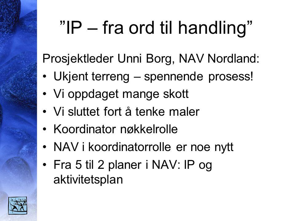 IP – fra ord til handling Prosjektleder Unni Borg, NAV Nordland: •Ukjent terreng – spennende prosess.