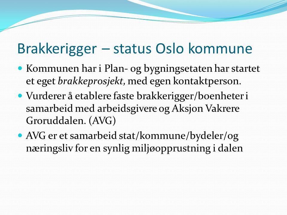 Brakkerigger – status Oslo kommune  Kommunen har i Plan- og bygningsetaten har startet et eget brakkeprosjekt, med egen kontaktperson.  Vurderer å e