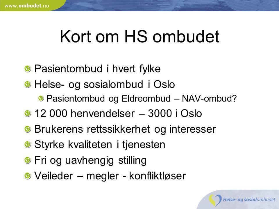 Kort om HS ombudet Pasientombud i hvert fylke Helse- og sosialombud i Oslo Pasientombud og Eldreombud – NAV-ombud? 12 000 henvendelser – 3000 i Oslo B