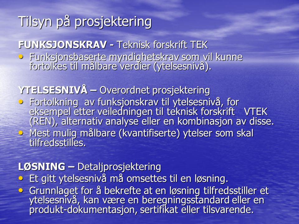 Tilsyn på prosjektering FUNKSJONSKRAV - Teknisk forskrift TEK • Funksjonsbaserte myndighetskrav som vil kunne fortolkes til målbare verdier (ytelsesnivå).