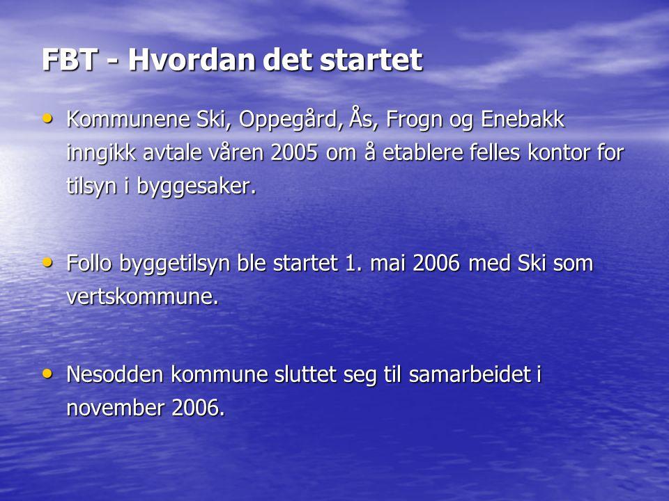 FBT - Hvordan det startet • Kommunene Ski, Oppegård, Ås, Frogn og Enebakk inngikk avtale våren 2005 om å etablere felles kontor for tilsyn i byggesake