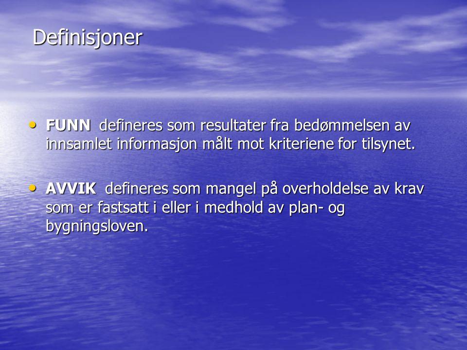 Definisjoner • FUNN defineres som resultater fra bedømmelsen av innsamlet informasjon målt mot kriteriene for tilsynet.