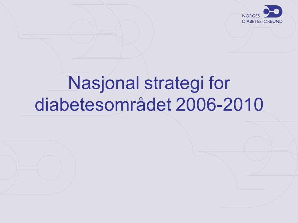 Hovedkapitler •Behandling –Bedre kvaliteten –Nye retningslinjer i spesialisthelsetjenesten –Bedre samhandling –Diabetesteam •Diagnostikk –Redusere andelen udiagnostiserte –Implementere NSAM