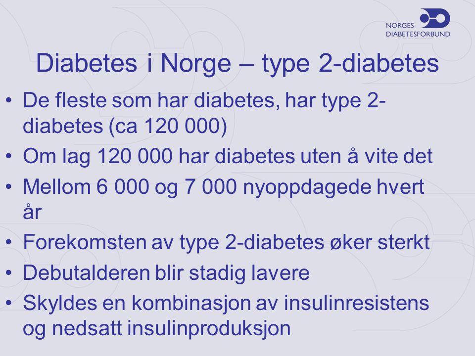 Diabetes i Norge – type 2-diabetes •De fleste som har diabetes, har type 2- diabetes (ca 120 000) •Om lag 120 000 har diabetes uten å vite det •Mellom