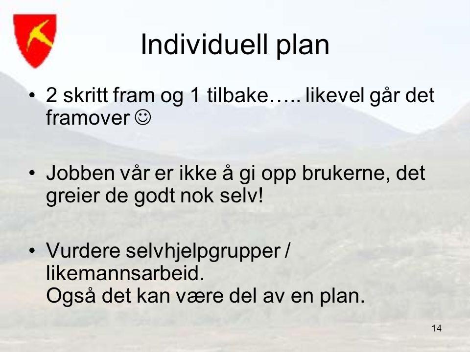 14 Individuell plan •2 skritt fram og 1 tilbake….. likevel går det framover  •Jobben vår er ikke å gi opp brukerne, det greier de godt nok selv! •Vur