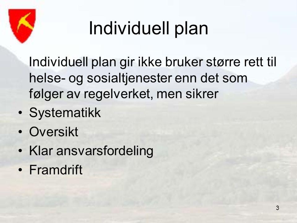 3 Individuell plan Individuell plan gir ikke bruker større rett til helse- og sosialtjenester enn det som følger av regelverket, men sikrer •Systemati