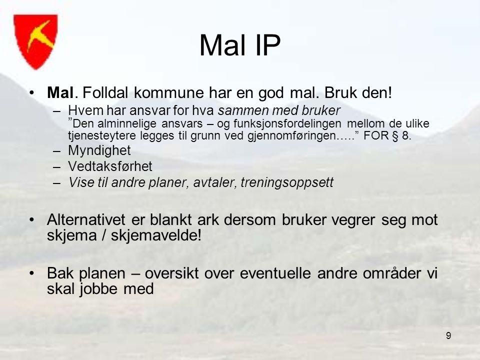 """9 Mal IP •Mal. Folldal kommune har en god mal. Bruk den! –Hvem har ansvar for hva sammen med bruker """" Den alminnelige ansvars – og funksjonsfordelinge"""