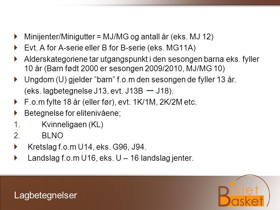 Minijenter/Minigutter = MJ/MG og antall år (eks. MJ 12)  Evt. A for A-serie eller B for B-serie (eks. MG11A)  Alderskategoriene tar utgangspunkt i