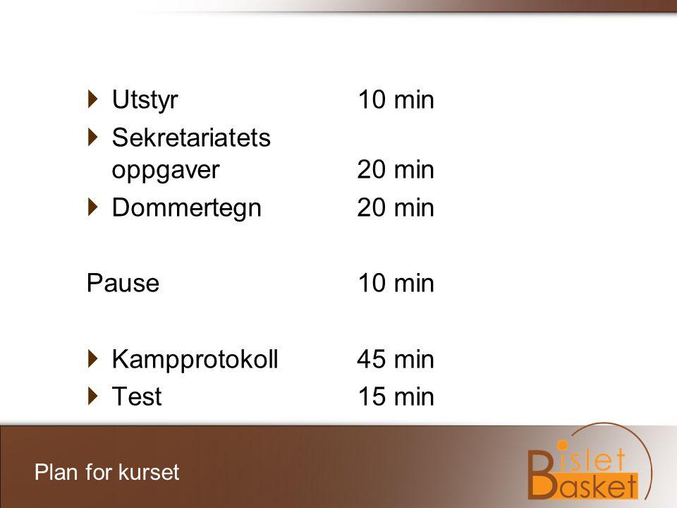 Plan for kurset  Utstyr10 min  Sekretariatets oppgaver20 min  Dommertegn20 min Pause10 min  Kampprotokoll45 min  Test15 min