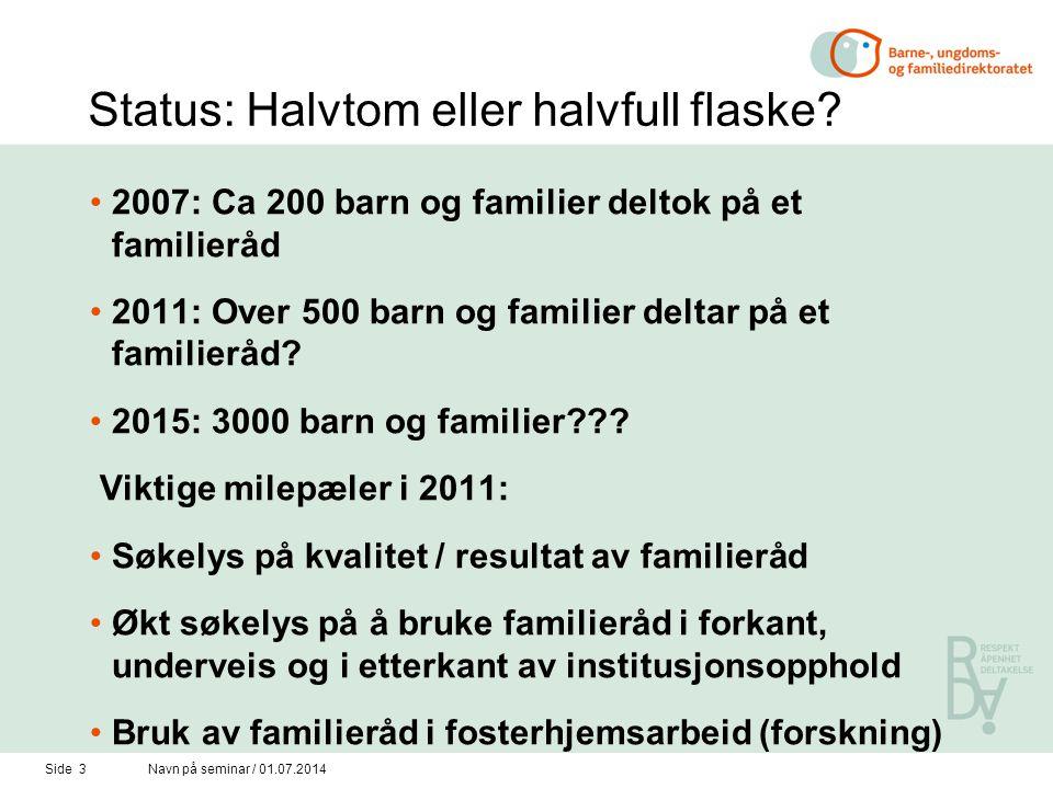 Side 3Navn på seminar / 01.07.2014 Status: Halvtom eller halvfull flaske.