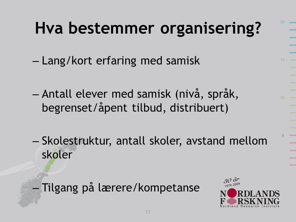 Hva bestemmer organisering? – Lang/kort erfaring med samisk – Antall elever med samisk (nivå, språk, begrenset/åpent tilbud, distribuert) – Skolestruk