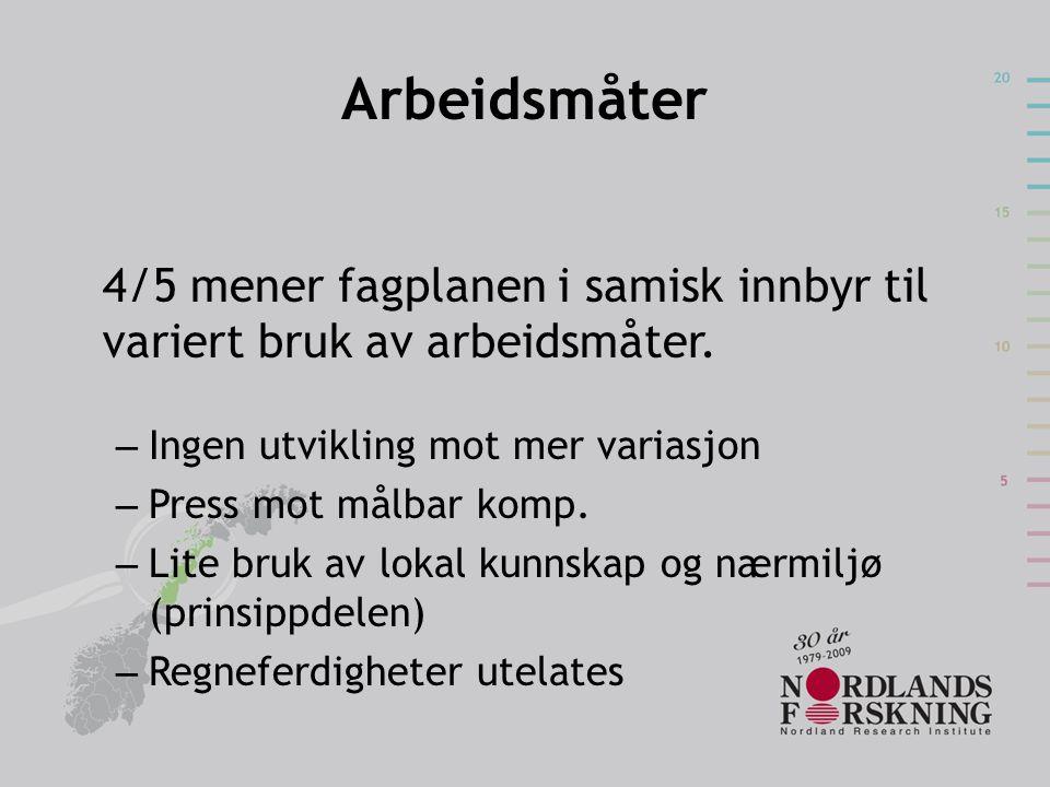 Arbeidsmåter 4/5 mener fagplanen i samisk innbyr til variert bruk av arbeidsmåter. – Ingen utvikling mot mer variasjon – Press mot målbar komp. – Lite