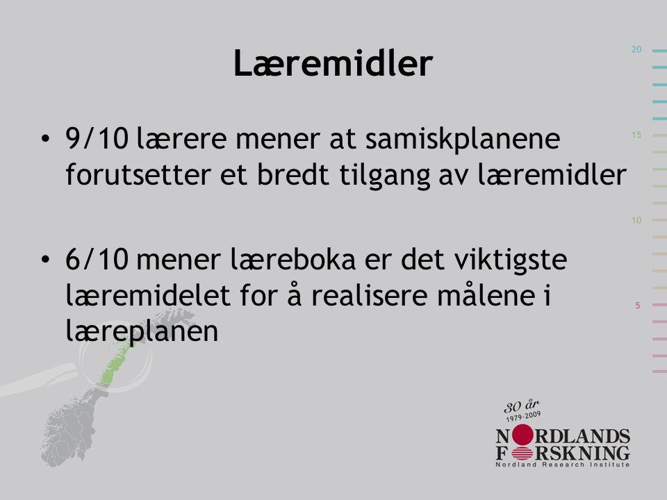 Læremidler • 9/10 lærere mener at samiskplanene forutsetter et bredt tilgang av læremidler • 6/10 mener læreboka er det viktigste læremidelet for å re