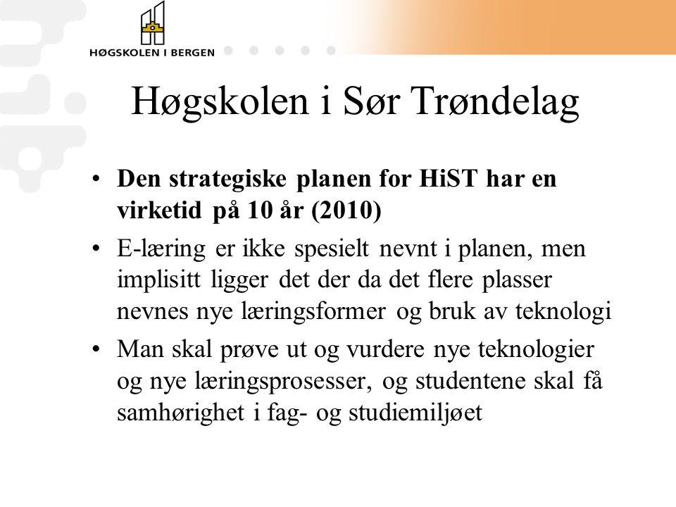 Høgskolen i Sør Trøndelag •Den strategiske planen for HiST har en virketid på 10 år (2010) •E-læring er ikke spesielt nevnt i planen, men implisitt ligger det der da det flere plasser nevnes nye læringsformer og bruk av teknologi •Man skal prøve ut og vurdere nye teknologier og nye læringsprosesser, og studentene skal få samhørighet i fag- og studiemiljøet