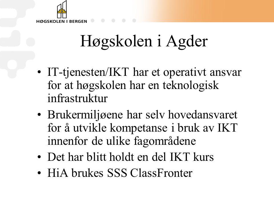 Høgskolen i Agder •IT-tjenesten/IKT har et operativt ansvar for at høgskolen har en teknologisk infrastruktur •Brukermiljøene har selv hovedansvaret for å utvikle kompetanse i bruk av IKT innenfor de ulike fagområdene •Det har blitt holdt en del IKT kurs •HiA brukes SSS ClassFronter