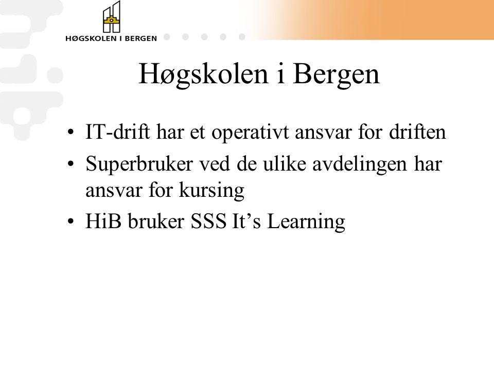 Høgskolen i Bergen •IT-drift har et operativt ansvar for driften •Superbruker ved de ulike avdelingen har ansvar for kursing •HiB bruker SSS It's Learning
