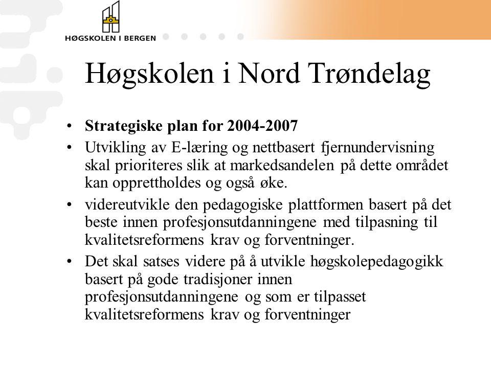Høgskolen i Nord Trøndelag •Strategiske plan for 2004-2007 •Utvikling av E-læring og nettbasert fjernundervisning skal prioriteres slik at markedsandelen på dette området kan opprettholdes og også øke.