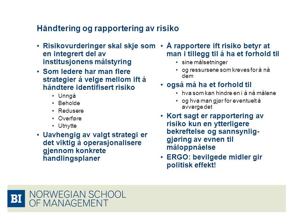 Håndtering og rapportering av risiko • Risikovurderinger skal skje som en integrert del av institusjonens målstyring • Som ledere har man flere strate