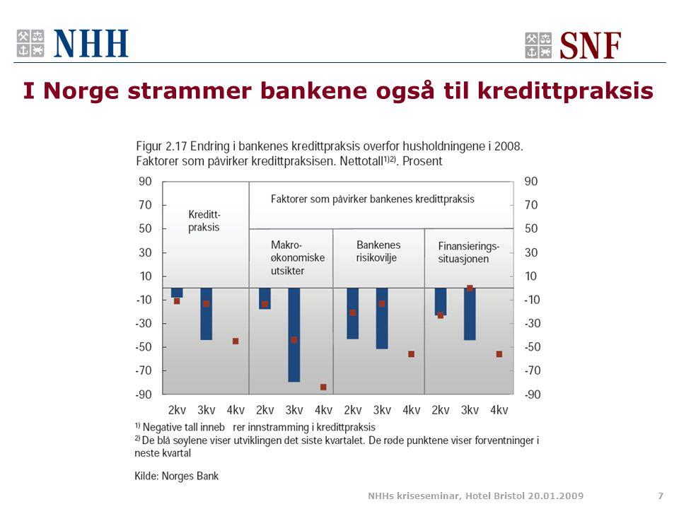 I Norge strammer bankene også til kredittpraksis NHHs kriseseminar, Hotel Bristol 20.01.20097