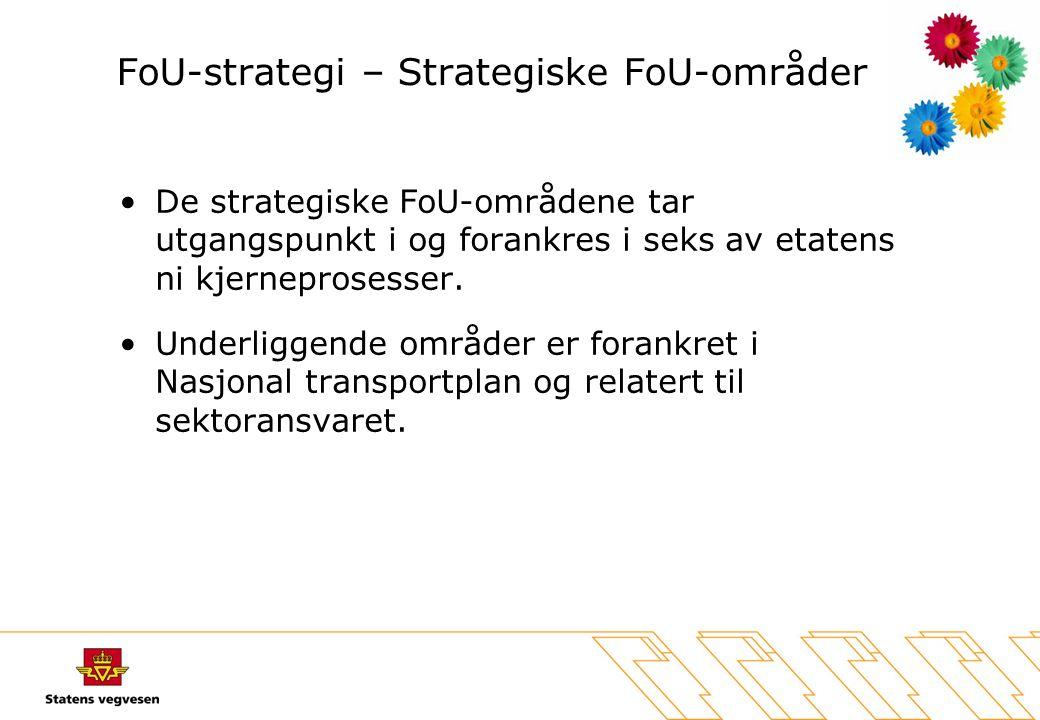 FoU-strategi – Strategiske FoU-områder •De strategiske FoU-områdene tar utgangspunkt i og forankres i seks av etatens ni kjerneprosesser. •Underliggen