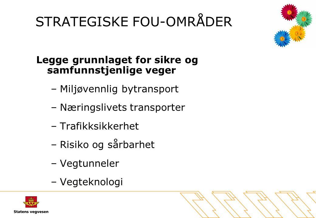 STRATEGISKE FOU-OMRÅDER Legge grunnlaget for sikre og samfunnstjenlige veger –Miljøvennlig bytransport –Næringslivets transporter –Trafikksikkerhet –R