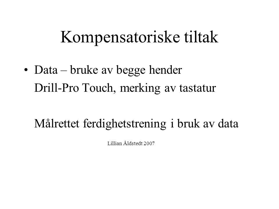 Lillian Åldstedt, ergoterapispesialist i barns helse, Stavanger 2007. Kompensatoriske tiltak •Data – bruke av begge hender Drill-Pro Touch, merking av